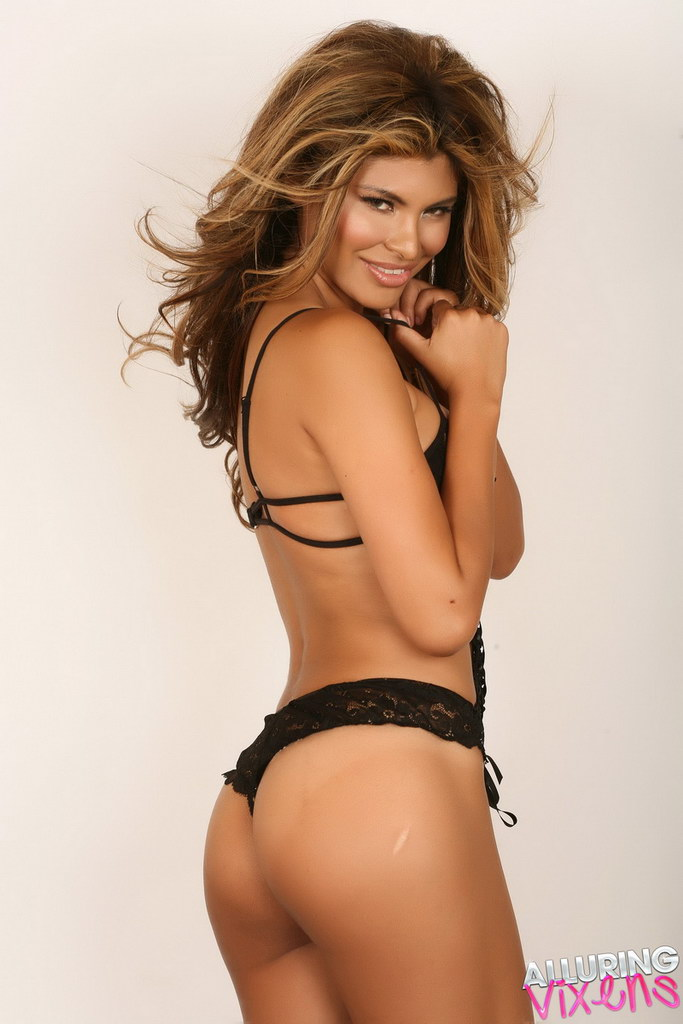 Alluring Vixens: Claudia Teases In Her Black Lace Lingerie Outfit That Barely Covers Her Big Juicy Breasts
