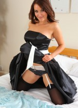 Only Silk and SatinL Curvy Zoe Alexandra strips from black evening gown