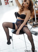 Gracie Lewis looks gorgeous in her blue and black lingerie at the sound studio