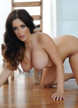 Ashley Emma strips naked from her pink bra and panties
