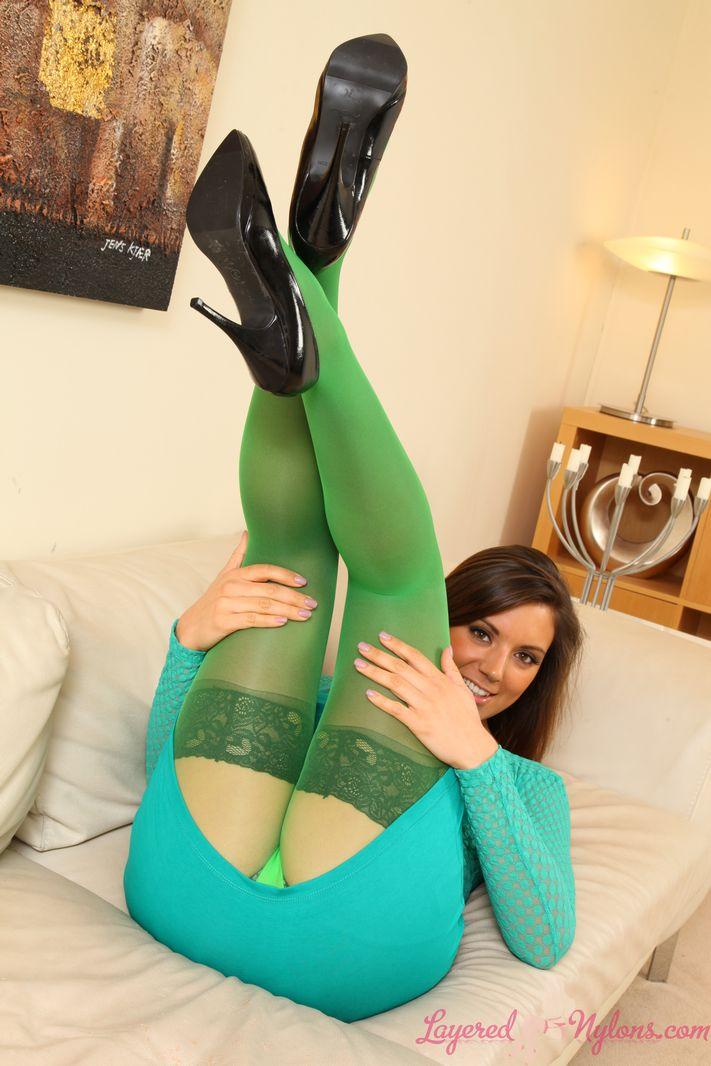 Layered-nylons: Chali Delu Wearing Green