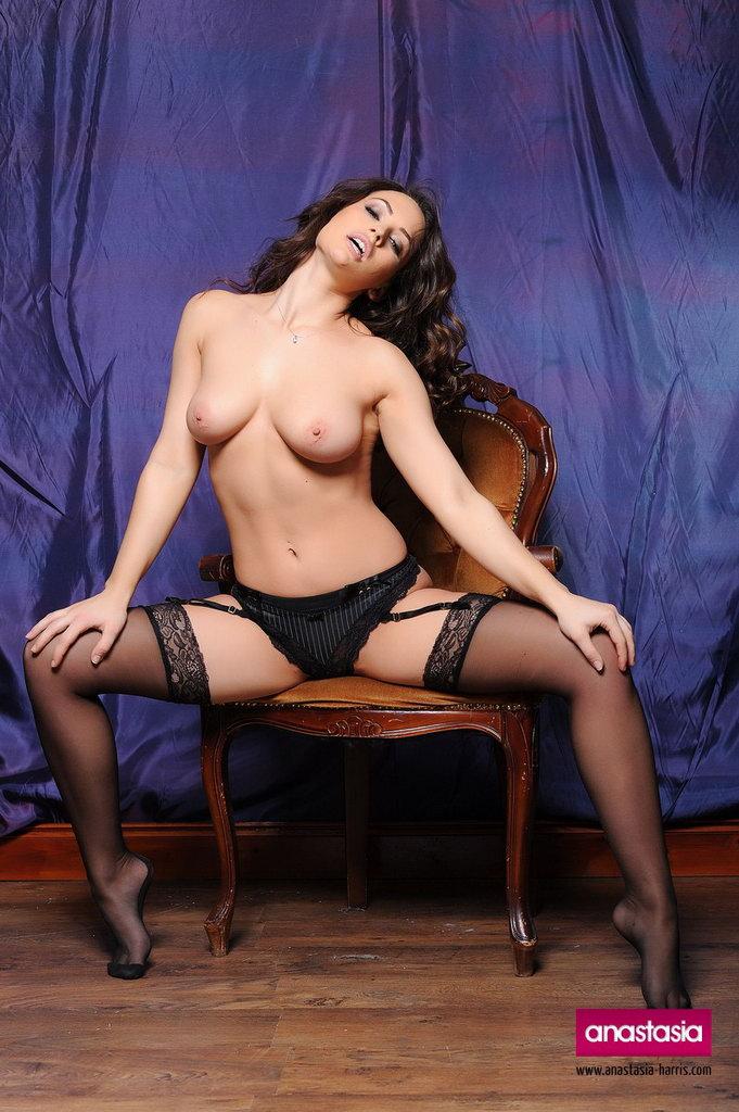 Anastasia Harris Stripping Her Sexy Black Top