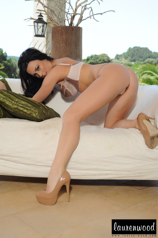 Lauren Wood Strips Naked From Her Frilly Bra And Panties