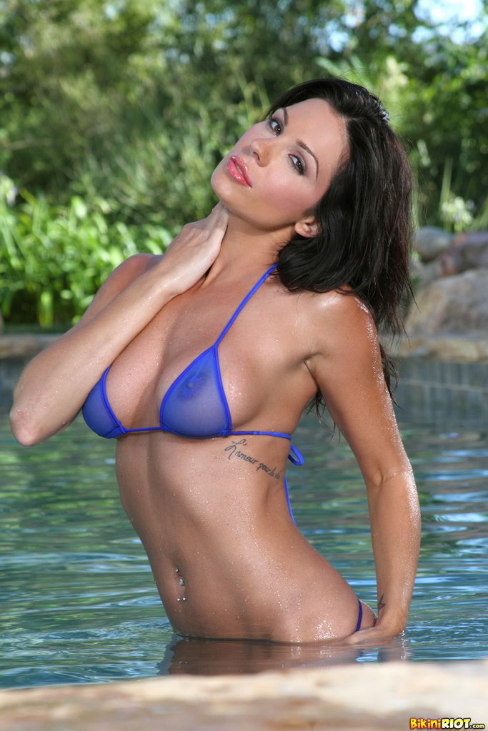 Bikini Riot: Kirsten Price Rock Hard Brown Nipples In Blue Sheer Gstring
