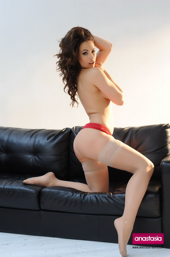 Anastasia Harris Strips From Her Red Lingerie With Stockings