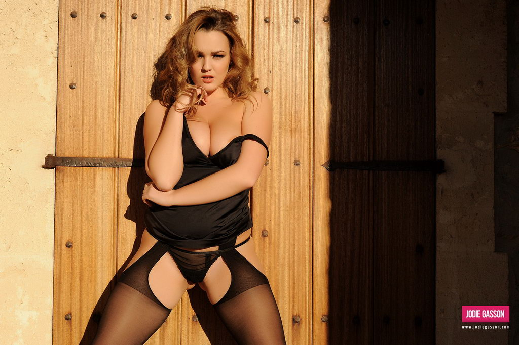 Jodie Gasson Strips From Her Sexy Black Lingerie