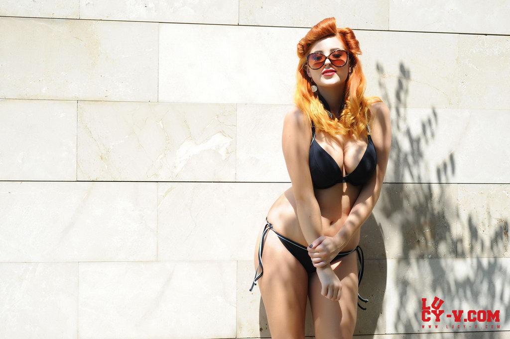 Lucy V Strips Her Little Black Bikini