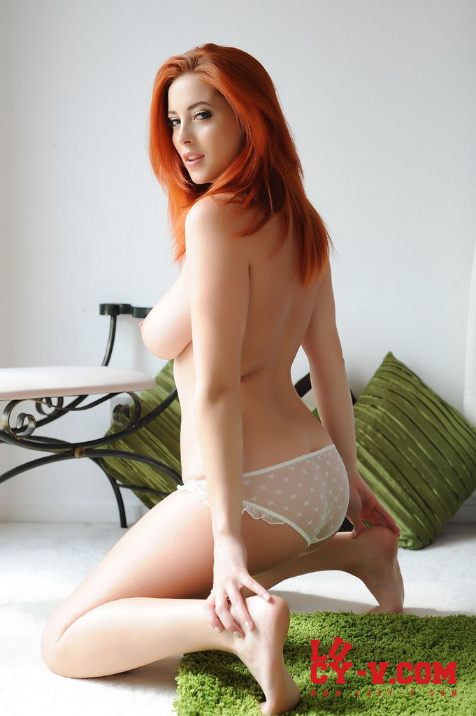 Lucy V Strips Her White Top With Cute Panties
