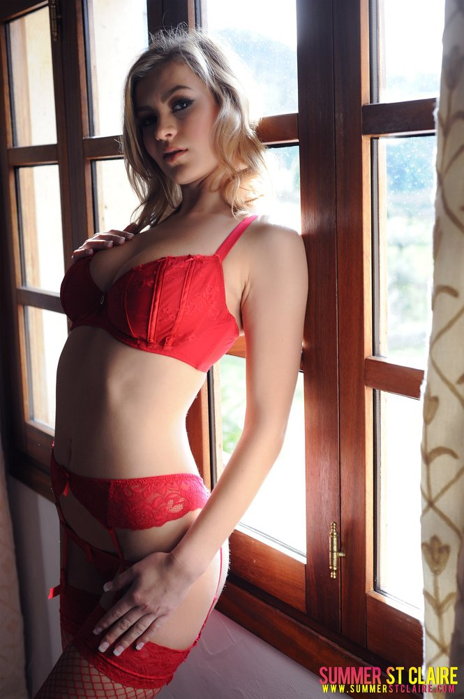 Summer St Claire Strips Her Red Bra And Thong
