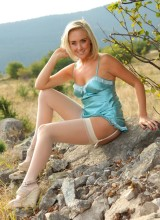 Only Silk and Satin: Blonde beauty Lucy Anne outdoors in her silken lingerie