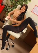 OnlyOpaques: Sexy black pantyhose on naughty secretary Kristina