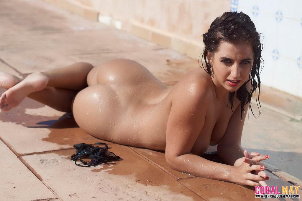Poolside nude