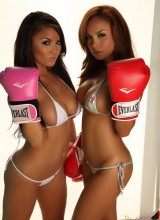 Justene Jaro and her sister Dawn show off their knockout curves