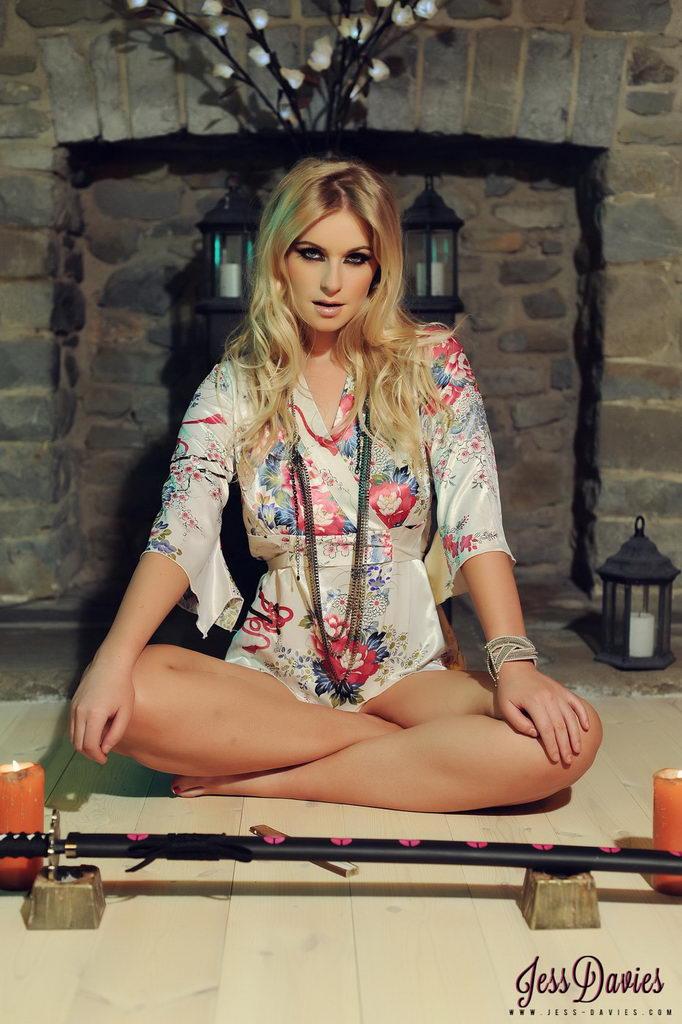 Jess Davies Teases In Her Oriental Night Robe