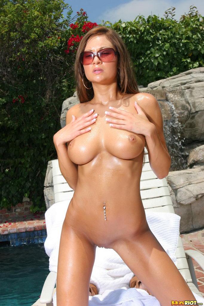 Bikini Riot: Amy Reid Phenomenal Sun Drenched Body In Sheer Pink Thong Bikini