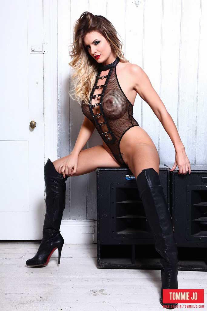 Tommie Jo Strips From Her Black Fishnet Bodysuit
