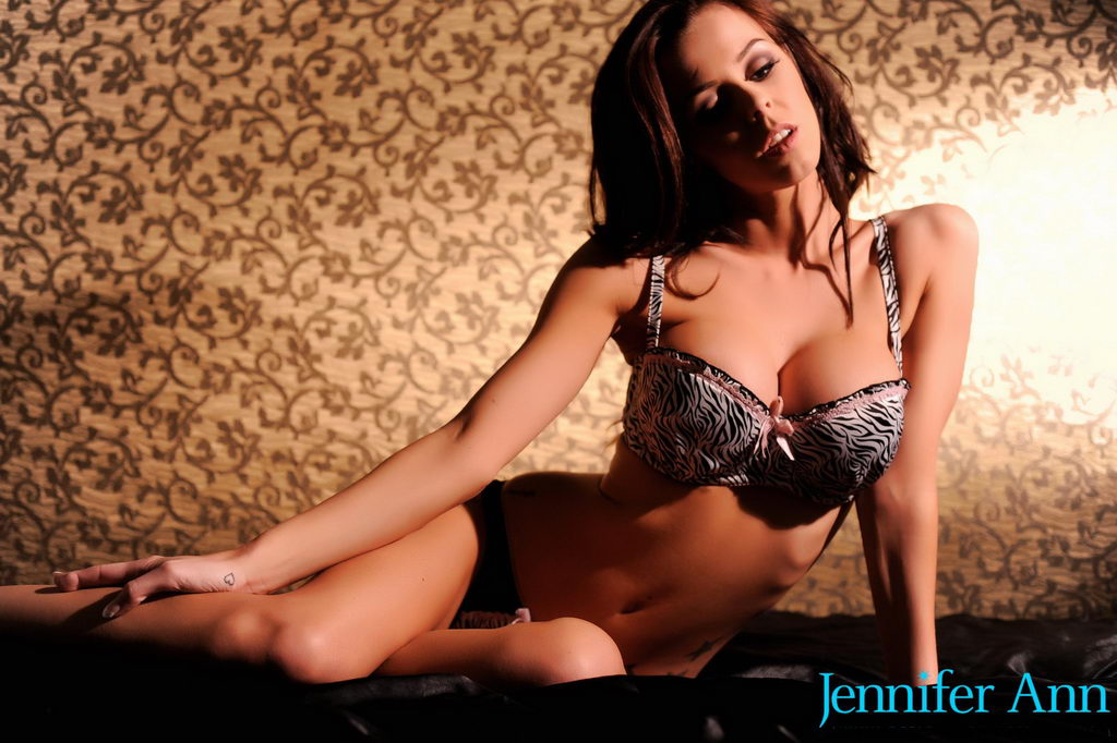 Jennifer Ann Teasing In Her Sexy Animal Print Lingerie On The Bed