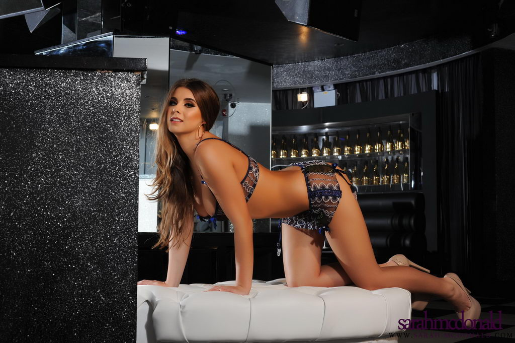 Sarah Mcdonald Teasing In Her Black And White Lingerie In The Lounge