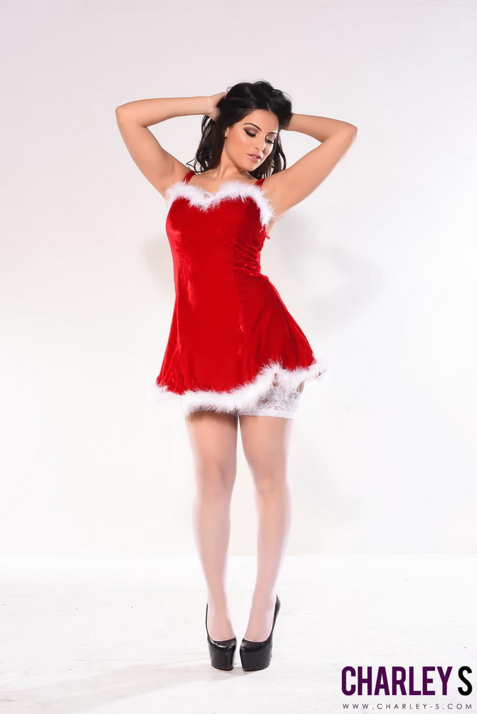 Charlotte Springer Teases In Her Cute Red And White Xmas Outfit And Stockings