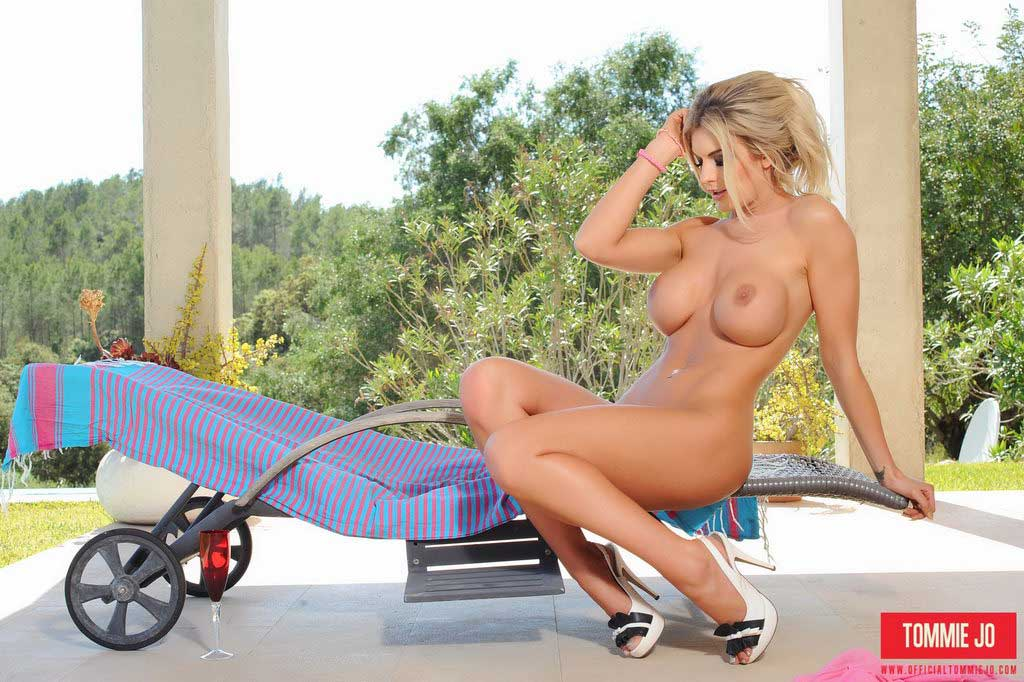 Tommie Jo Strips From Her Pink Top And Bikini On The Patio Pool Chair