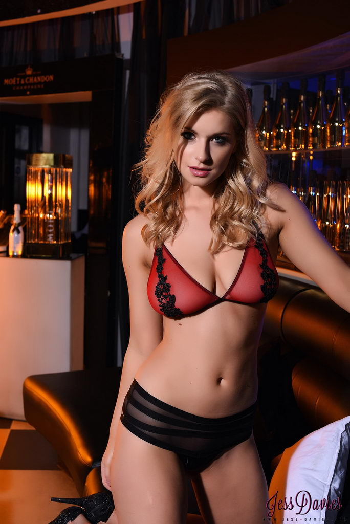 Jess Davies Teases In Her Black And Red Lingerie