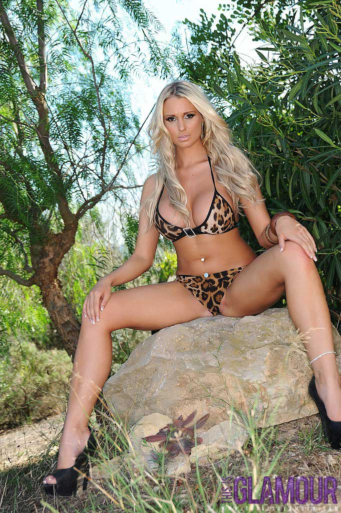 This Is Glamour: Cara Brett Strips From Her Leopard Print Bikini Out In The Forest