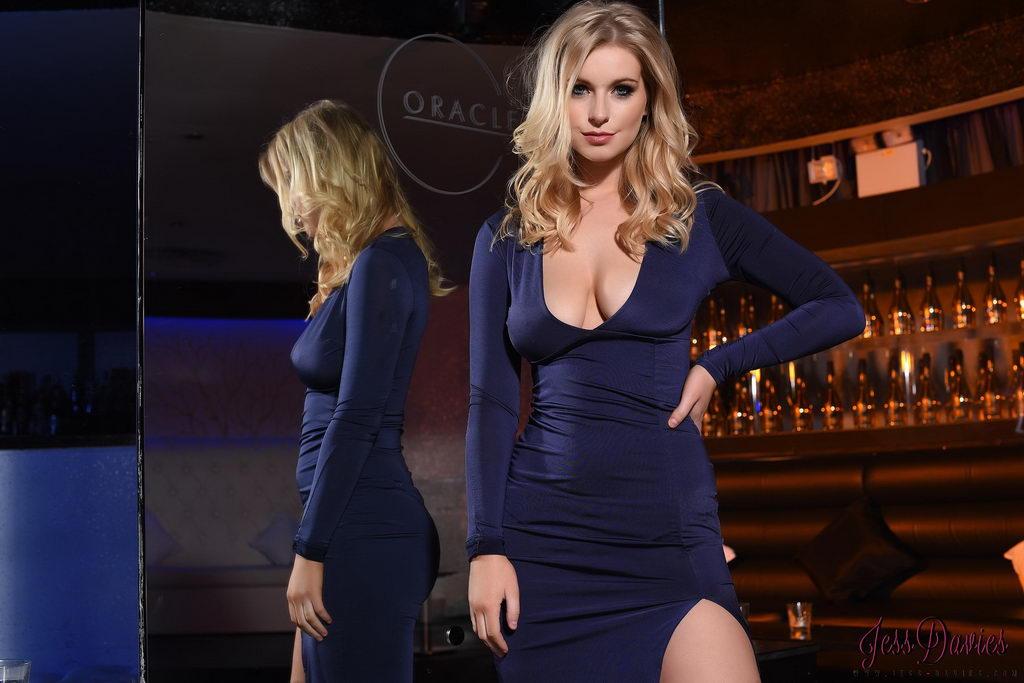 Jess Davies Teasing In Her Full Length Blue Dress And Black Lingerie