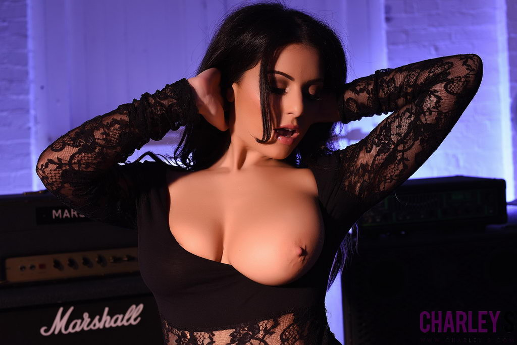 Charley S In Her Sexy Black Lace Lingerie In The Music Room