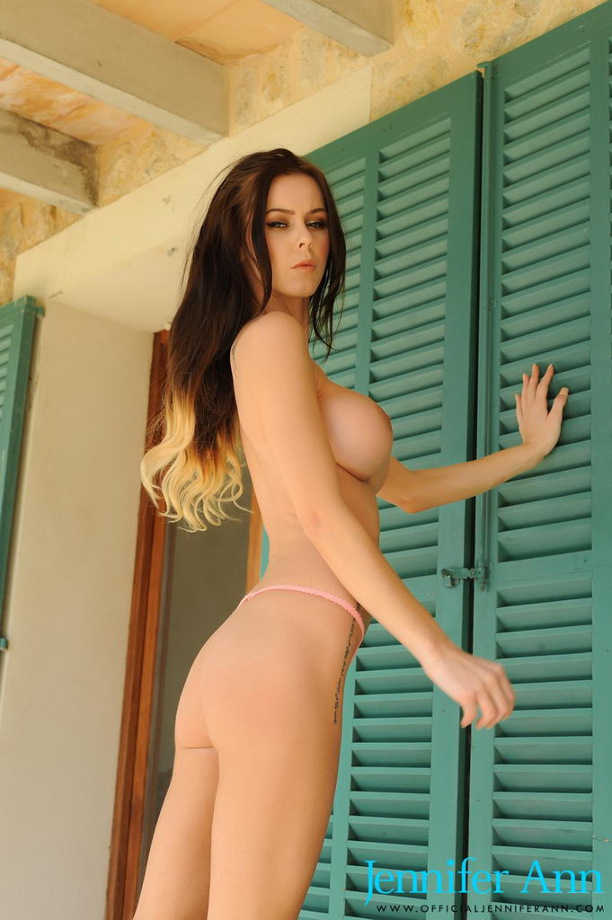 Jennifer Ann Teasing On The Walk In Her Peach Top And Thong