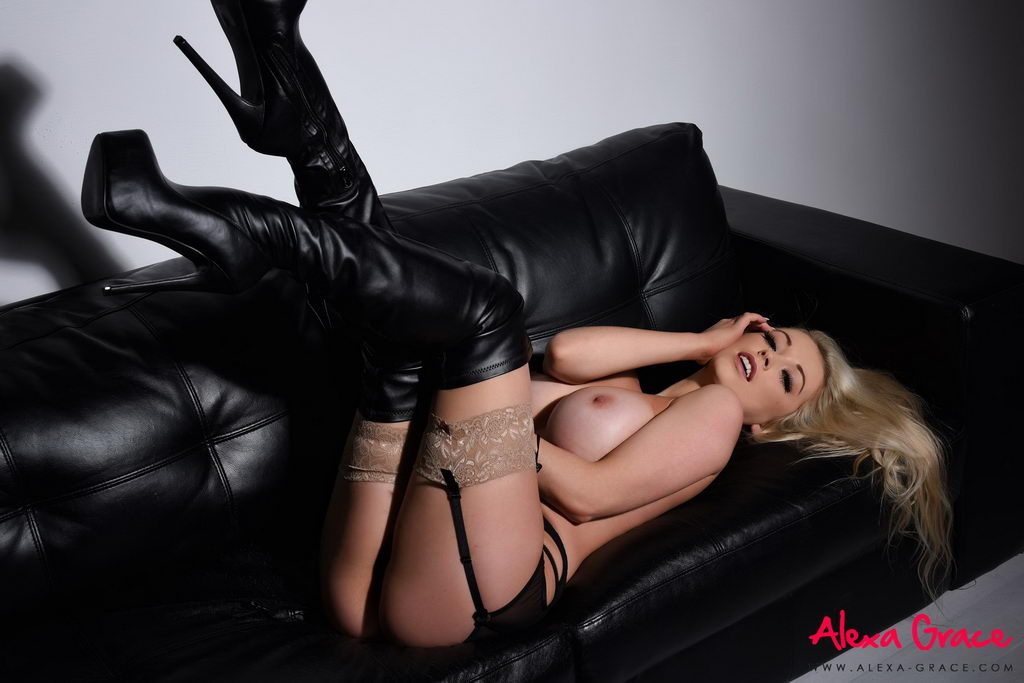 Alexa Grace Teasing In Her Sexy Black Lingerie And Stockings