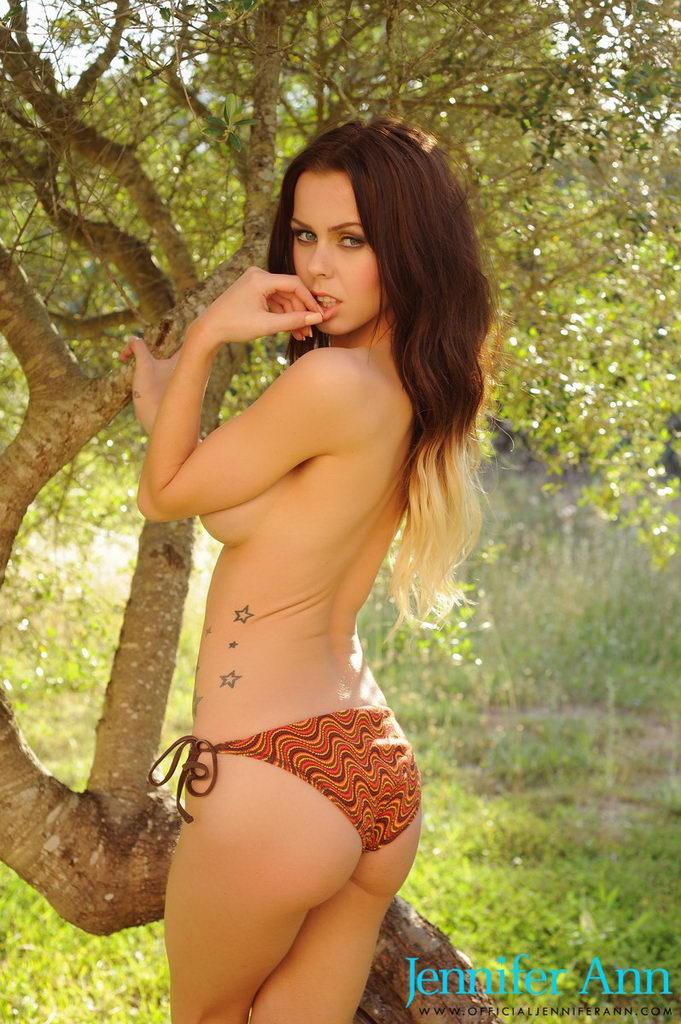 Jennifer Ann Teasing In Her Cute Bikini Outdoors Under The Tree