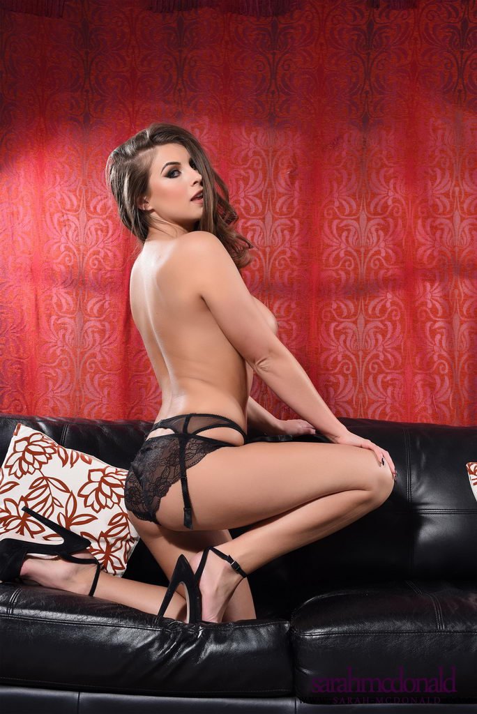 Sarah Mcdonald Teasing In Her Sexy Black Lingerie On The Sofa