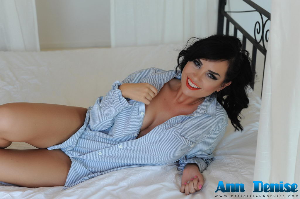 Ann Denise Teasing In Her Blue Shirt And White Thong On The Bed