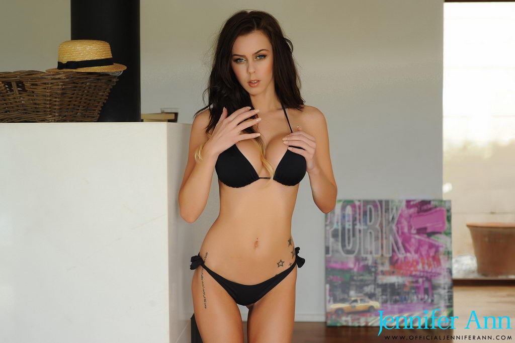 Jennifer Ann Teasing In Her Black Bikini