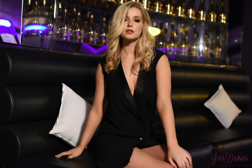 Jess Davies Teasing In Her Black Top And Panties