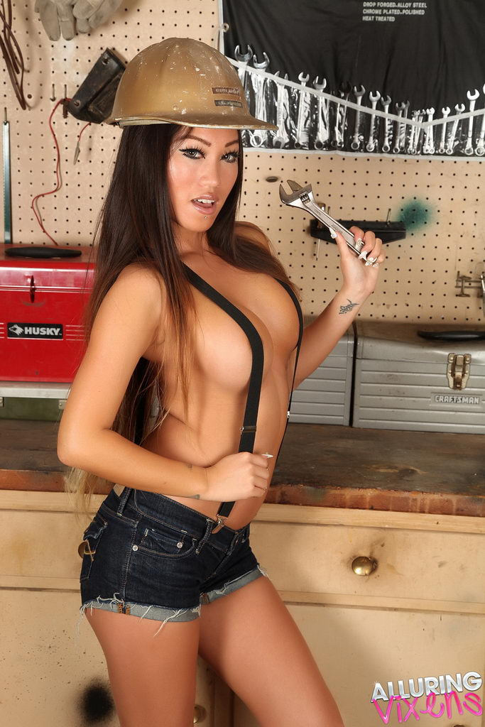 Alluring Vixens: Jada Cheng Teases At The Tool Bench Topless