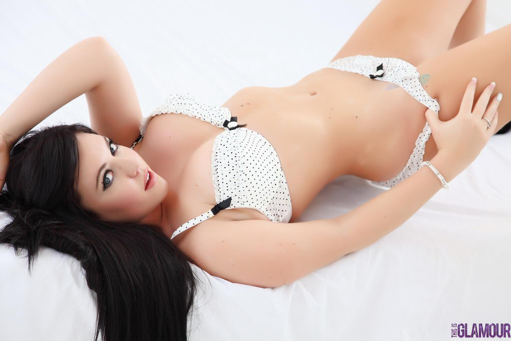 This Is Glamour: Nina Evans Teasing In White Lingerie On The Bed