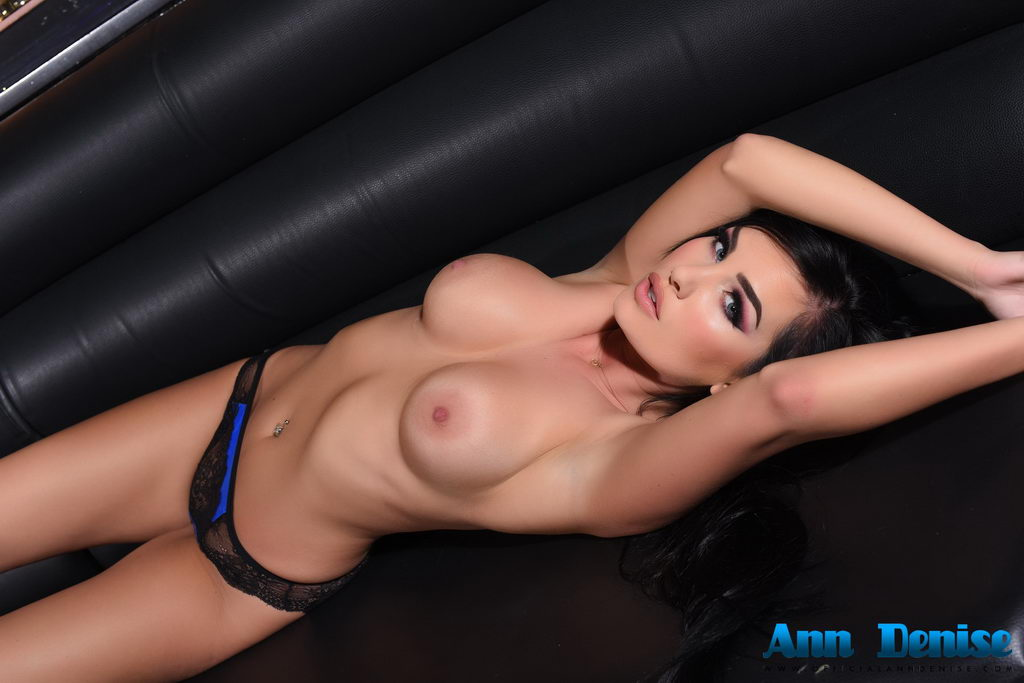 Ann Denise Looking Extraordinarily Sexy In Her Black And Blue Lingerie In The Lounge