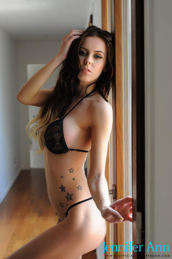 Jennifer Ann Teasing In The Sunlight In Scant Lingerie In Front Of The French Doors