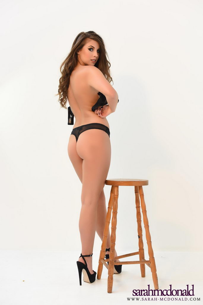Sarah Mcdonald Shows Off Her Beautiful Breasts In Her Black Lingerie