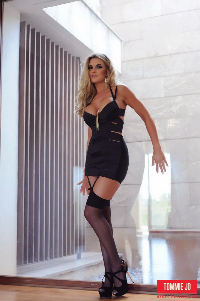 Tommie Jo Teasing In Her Sexy Tight Black Dress And Stockings