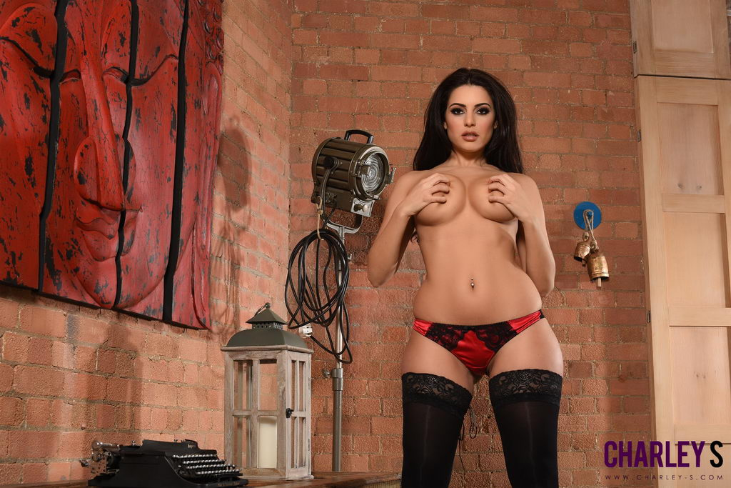 Charley S Teasing In Her Red & Black Lingerie And Stockings