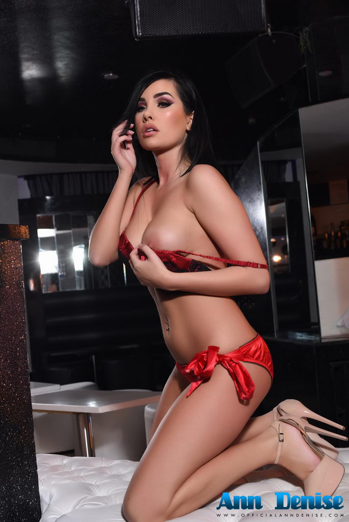 Ann Denise Teasing In Red Lingerie In The Lounge