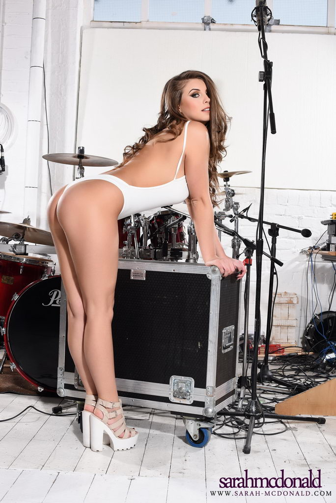 Sarah Mcdonald Shows Off Her Beautiful Breasts By The Drum Set