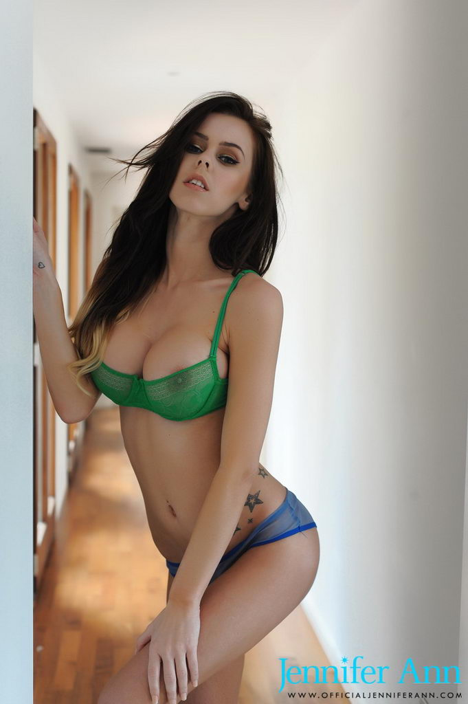 Jennifer Ann Teasing In Green And Blue Lingerie