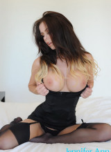 Jennifer Ann teasing in her black dress