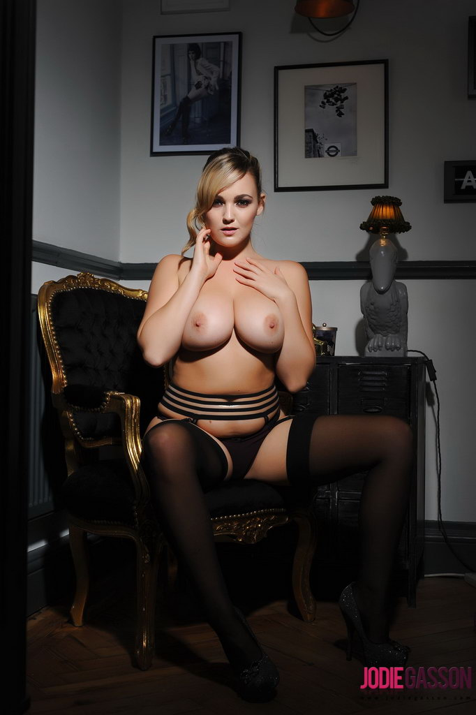 Jodie Gasson teasing in her black lingerie and stockings