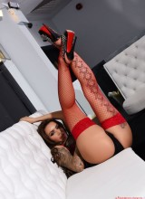 Gemma Massey - Red lingerie and stockings