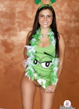 Kaley Kade as Green M&M for St Patty's Day