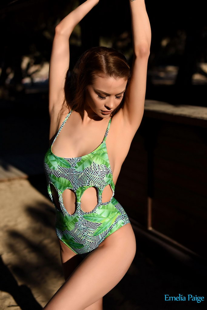 Emelia Paige Posing In Her Bodysuit On The Beach